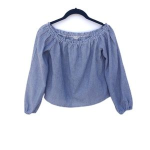 Brandy Melville Chambray Off The Shoulder Blouse
